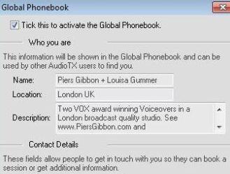 Audio TX Communicator Global Directory entry for Louisa Gummer & Piers Gibbon