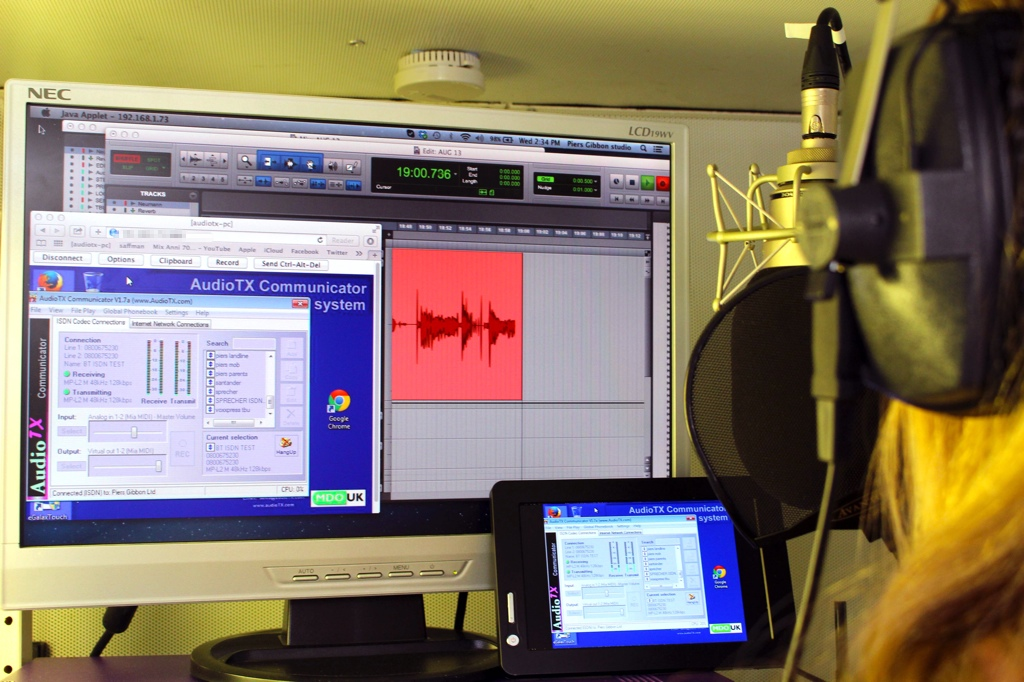 The Piers Gibbon/Louisa Gummer voiceover studio all set-up and using the new AudioTX Communicator